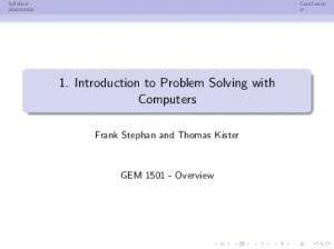 1. Introduction to Problem Solving with Computers