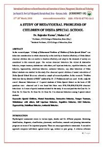 A STUDY OF BEHAVIOURAL PROBLEMS OF …