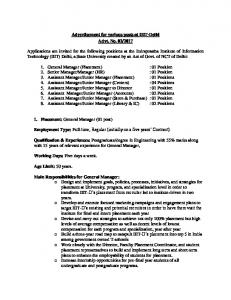Advertisement for various posts at IIIT-Delhi Advt. No. 02
