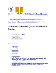 Al Bayan: Journal of Qur'an and Hadith Studies