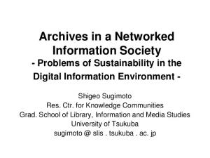 Archives in a Networked Information Society