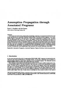 Assumption Propagation through Annotated Programs