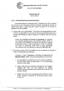 BSP Circular No. 765, 2012, Revised Outsourcing …