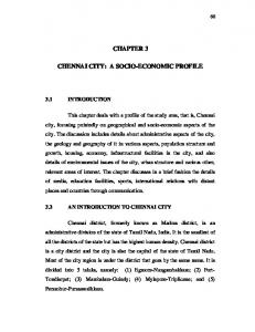 CHAPTER 3 CHENNAI CITY: A SOCIO-ECONOMIC PROFILE