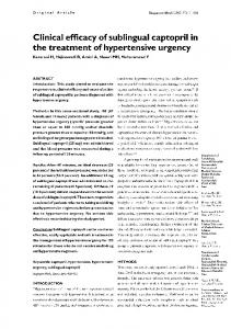 Clinical efficacy of sublingual captopril in treatment …