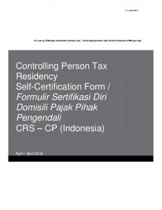 Controlling Person Tax Residency Self-Certification Form