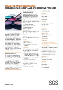 COSMETICS AND PERSONAL CARE: DELIVERING SAFE, …