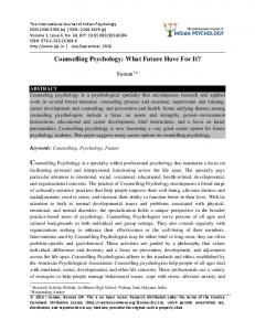 Counselling Psychology: What Future Have For It?