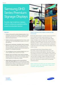 Data sheet Samsung DHD Series Premium Signage Displays