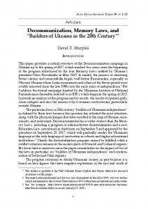 "Decommunization, Memory Laws, and ""Builders of Ukraine in"