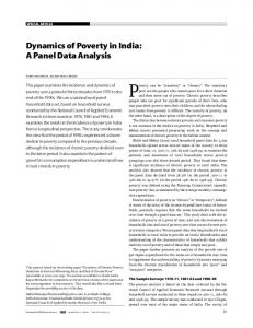 Dynamics of Poverty in India: A Panel Data Analysis