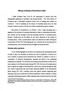 Efficacy of Monetary Policy Rules in India