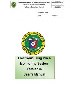 Electronic Drug Price Monitoring System Version 3. User …