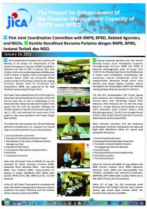 First Joint Coordination Committee with BNPB, …