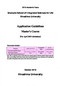 Graduate School of Integrated Sciences for Life Hiroshima