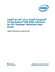 Intel Arria 10 or Intel 10 GX Avalon -MM DMA Interface Guide