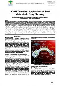 LC-MS Overview: Applications of Small Molecules in Drug