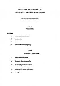 LIMITED LIABILITY PARTNERSHIPS ACT 2012 …