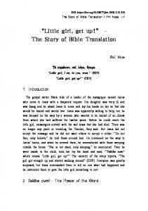 """""""Little girl, get up!"""" The Story of Bible Translation"""