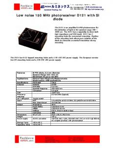 Low noise 150 MHz photoreceiver D121 with Si diode