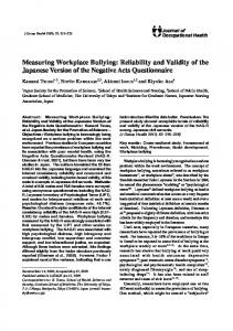 Measuring Workplace Bullying: Reliability and Validity of