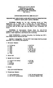 OPERATIONS ORDER NO. SBM-2015-017 ISSUANCE AND USE …
