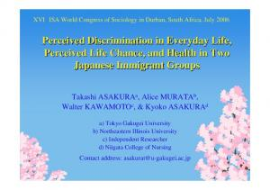 Perceived Discrimination in Everyday Life, Perceived …