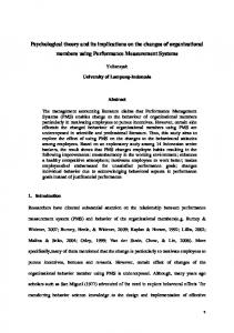 Psychological theory and its implications on the …