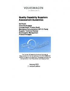 Quality Capability Suppliers Assessment Guidelines
