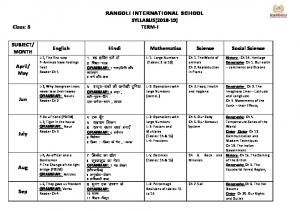 RANGOLI INTERNATIONAL SCHOOL SYLLABUS(2018-19) …