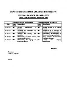 SENATE OF SERAMPORE COLLEGE (U NIVERSITY) DIPLOMA …