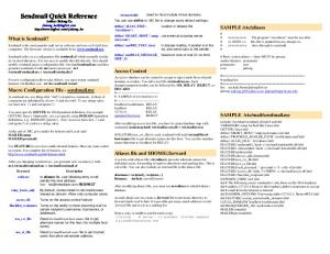 Sendmail Quick Reference