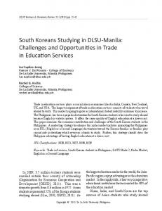 South Koreans Studying in DLSU-Manila: Challenges and