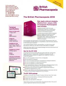 The British Pharmacopoeia 2018