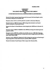 TRANSLATION AGREEMENT BETWEEN THE AGENCY …